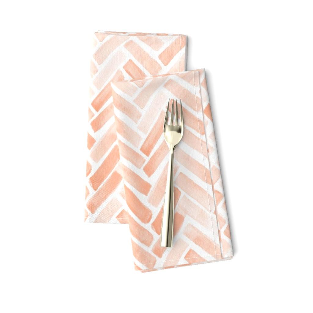Amarela Dinner Napkins featuring pale blush watercolor herringbone by mrshervi