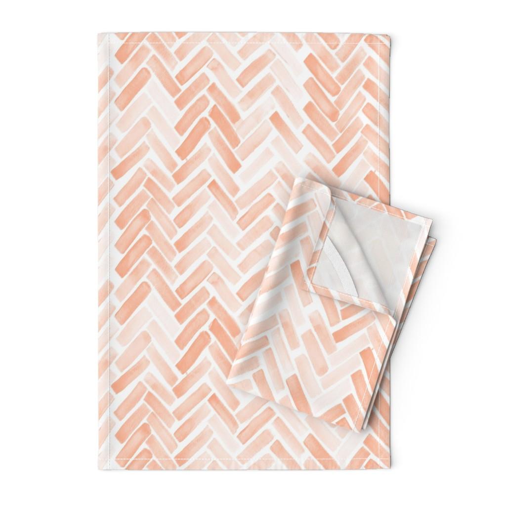 Orpington Tea Towels featuring pale blush watercolor herringbone by mrshervi