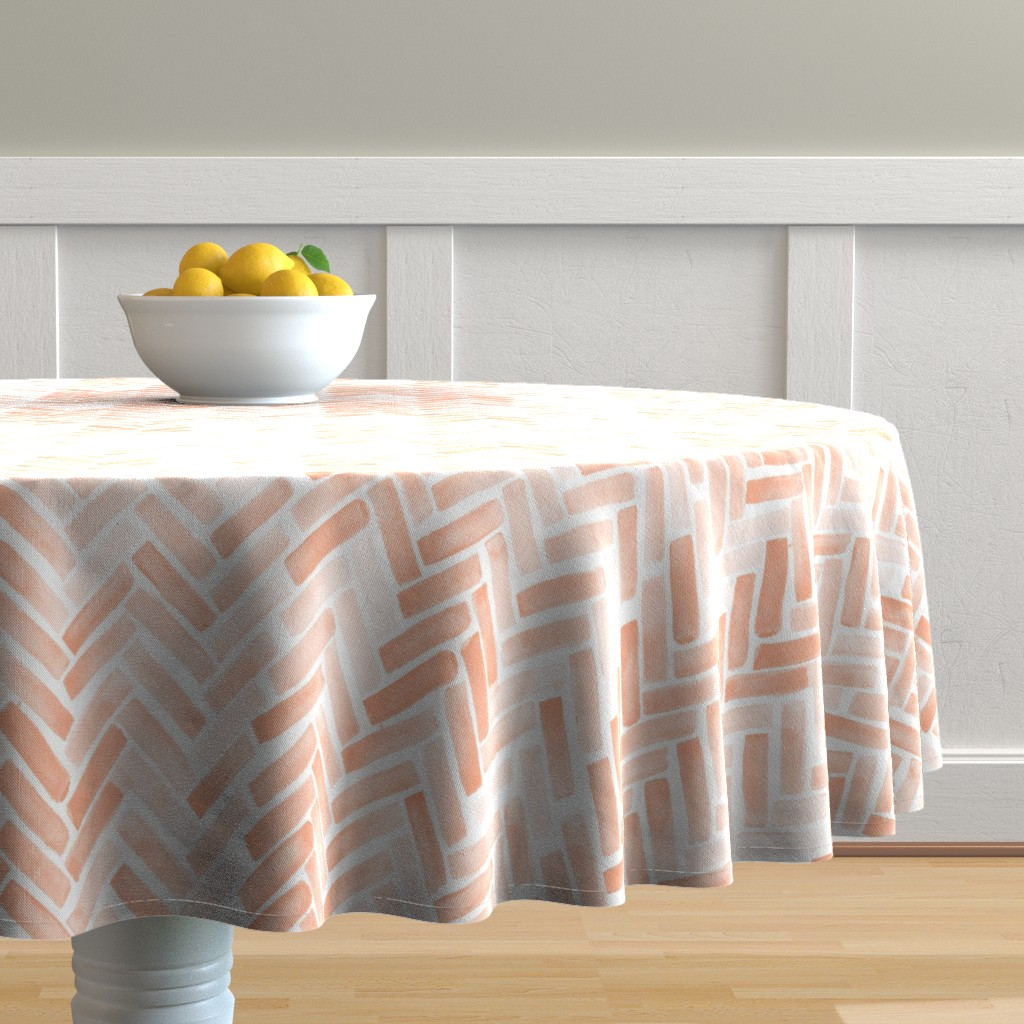 Malay Round Tablecloth featuring pale blush watercolor herringbone by mrshervi