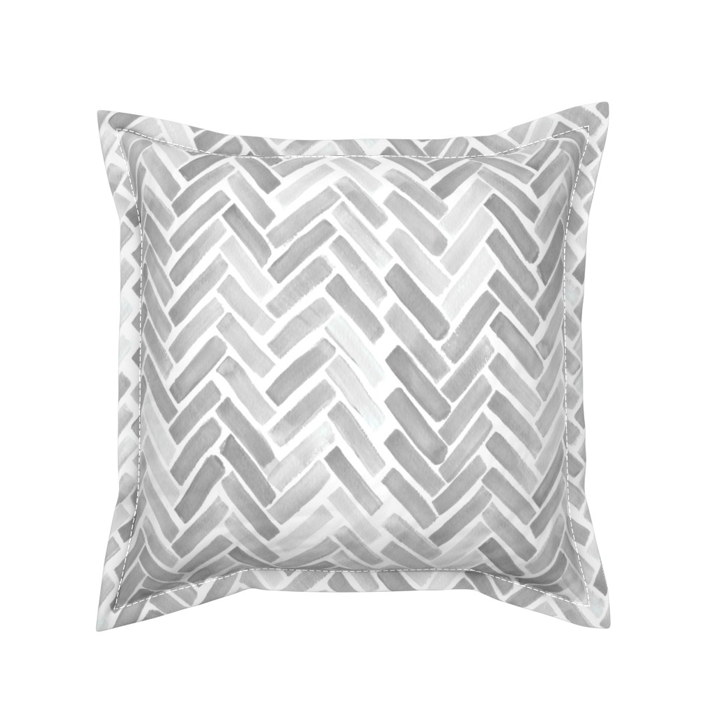 Serama Throw Pillow featuring gray watercolor herringbone by mrshervi