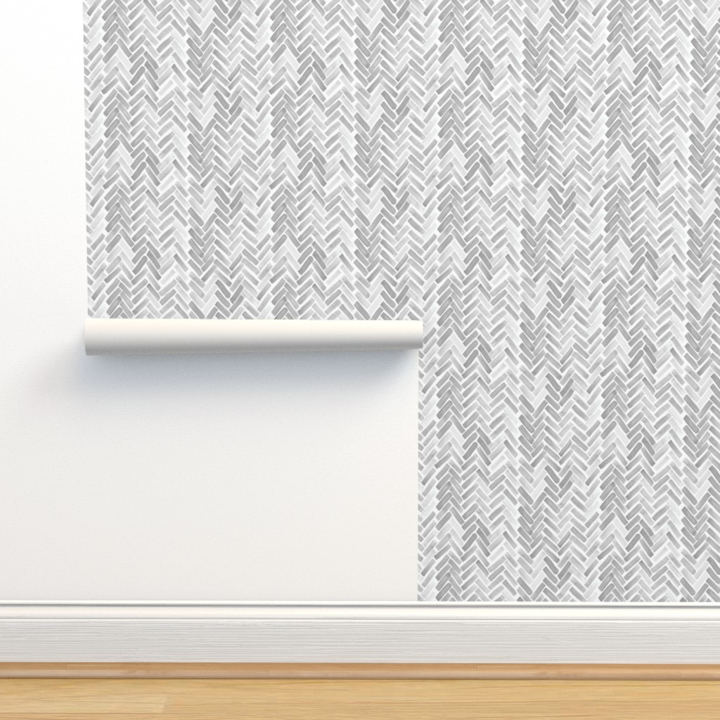 Isobar Durable Wallpaper featuring gray watercolor herringbone by mrshervi