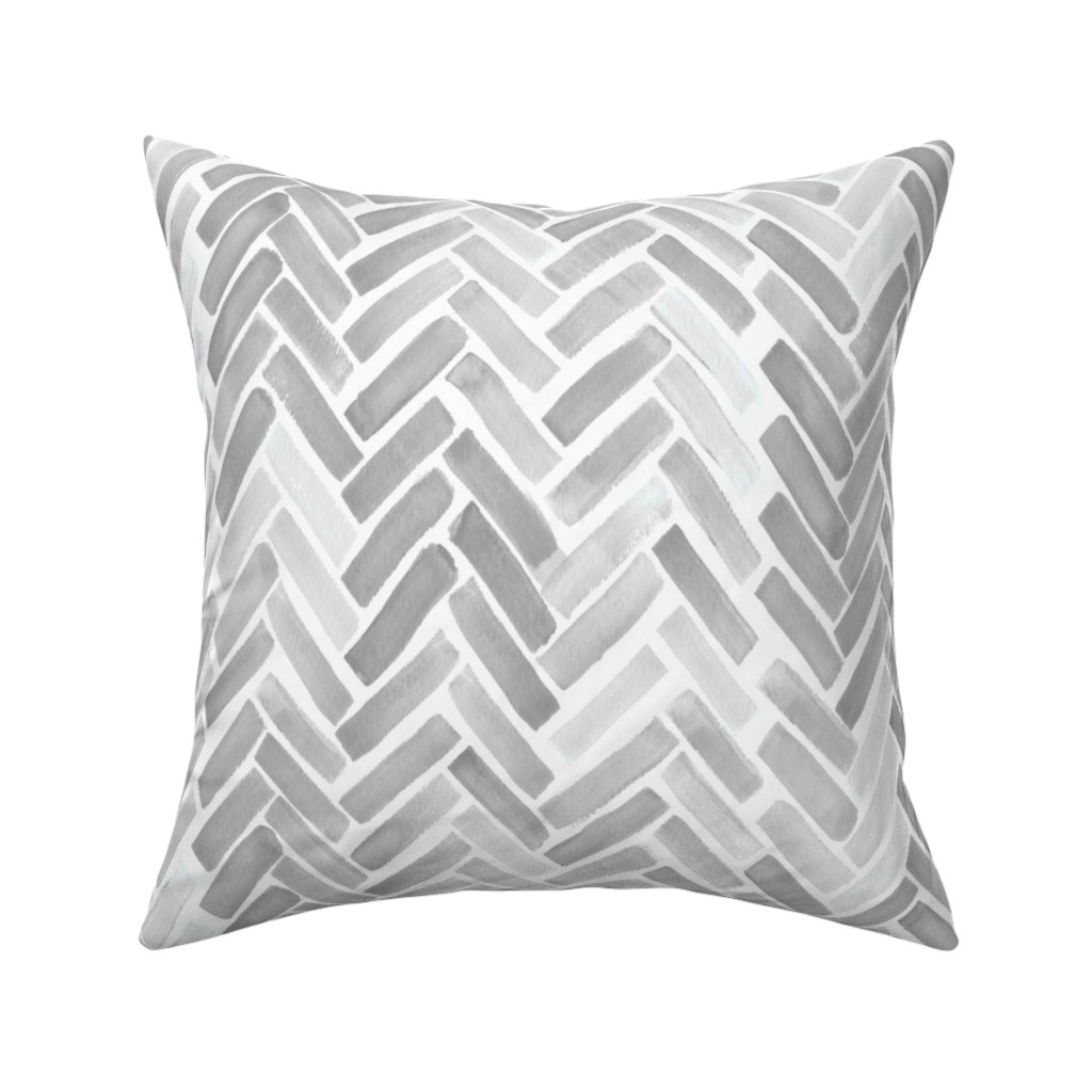 Catalan Throw Pillow featuring gray watercolor herringbone by mrshervi