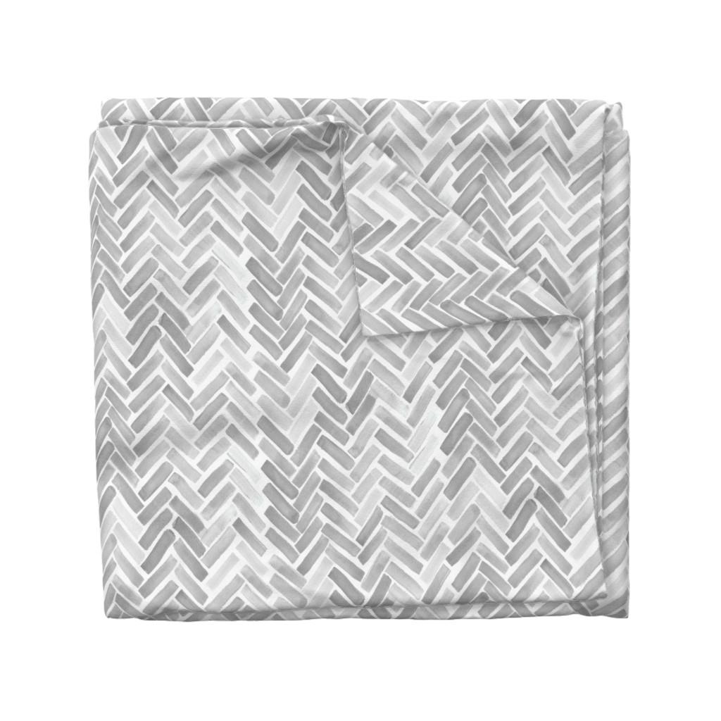 Wyandotte Duvet Cover featuring gray watercolor herringbone by mrshervi