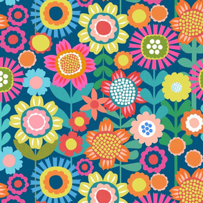 Flower Power - Navy Background