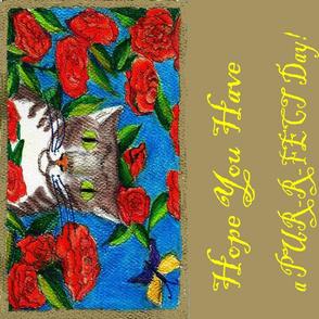Cat Rose Long Pillow