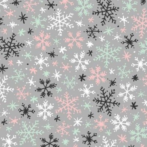 Snowfall (Mint and Pink on Gray)