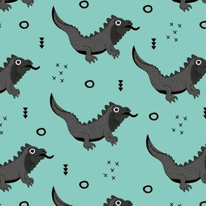 Little fantasy dragon and lizard illustration cool design for kids gray mint