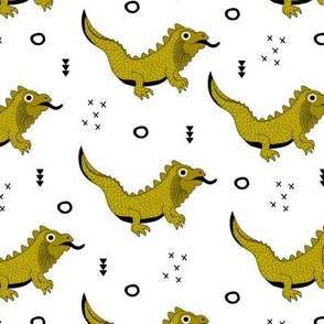 Little fantasy dragon and lizard illustration cool design for kids ochre yellow