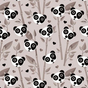 Sweet baby bamboo and panda forest asian animals beige black and white