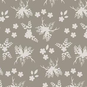 15-07U Floral Silhouette Taupe || Rustic wedding bride flower bouquet antler_Miss Chiff Designs