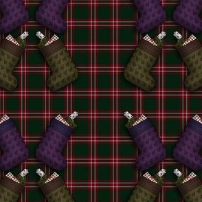 Stocking filled with presents tartan bg