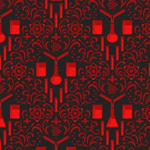 Mad Science Damask (Dark Red)