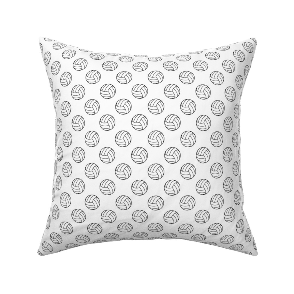 Catalan Throw Pillow featuring One Inch Black and White Volleyballs on White by mtothefifthpower