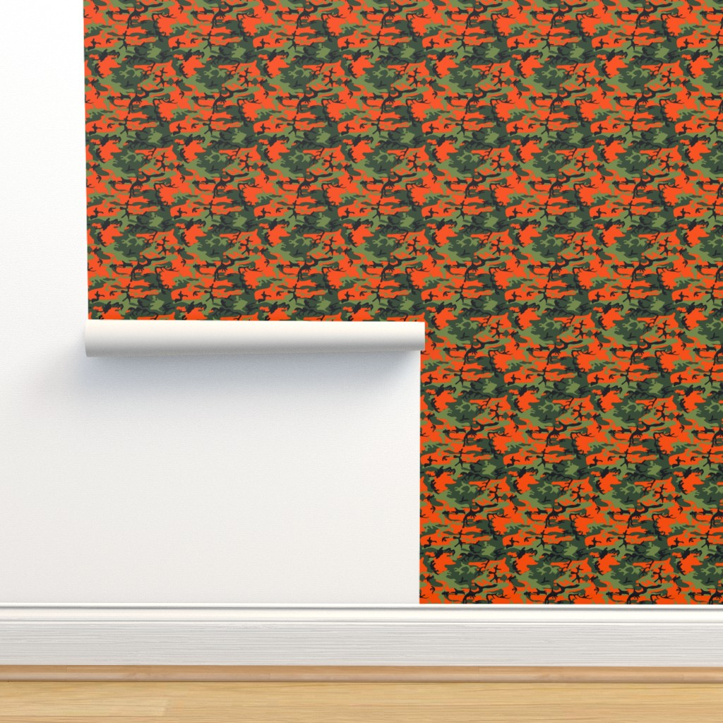 Isobar Durable Wallpaper featuring  Large Green, Dark Green, Orange, and Black Camouflage (12 inch repeat) by mtothefifthpower