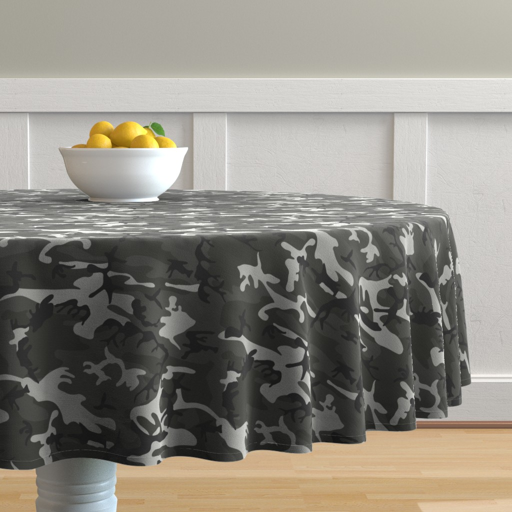 Malay Round Tablecloth featuring Large Mixed Gray Military Camouflage (12 inch repeat) by mtothefifthpower