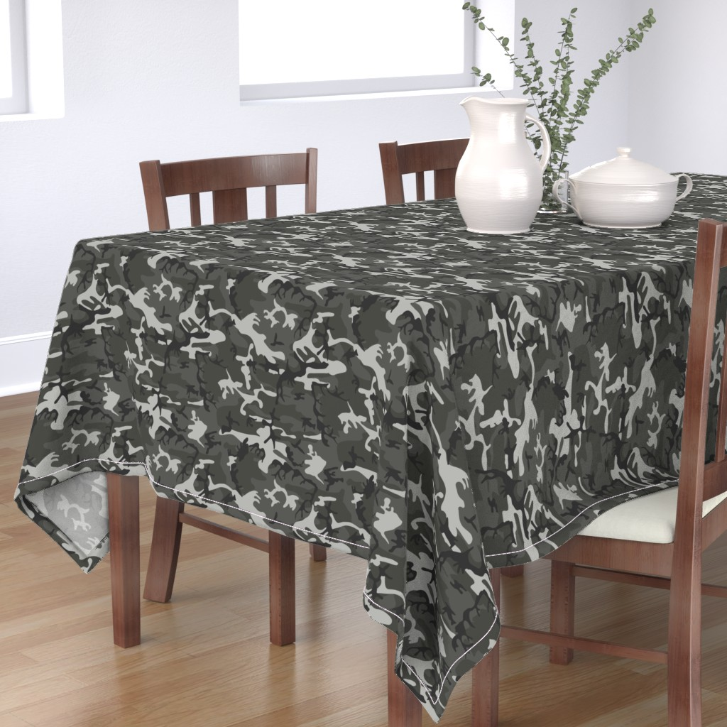 Bantam Rectangular Tablecloth featuring Large Mixed Gray Military Camouflage (12 inch repeat) by mtothefifthpower