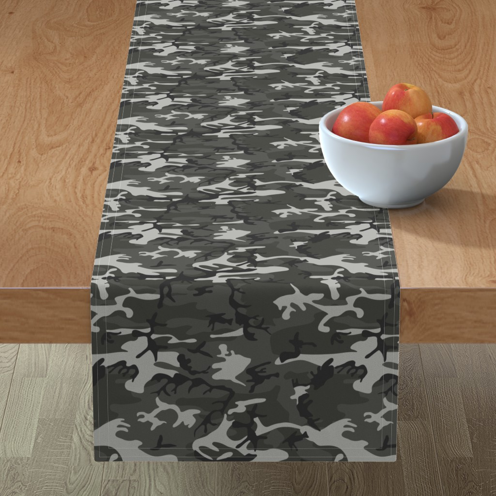 Minorca Table Runner featuring Large Mixed Gray Military Camouflage (12 inch repeat) by mtothefifthpower
