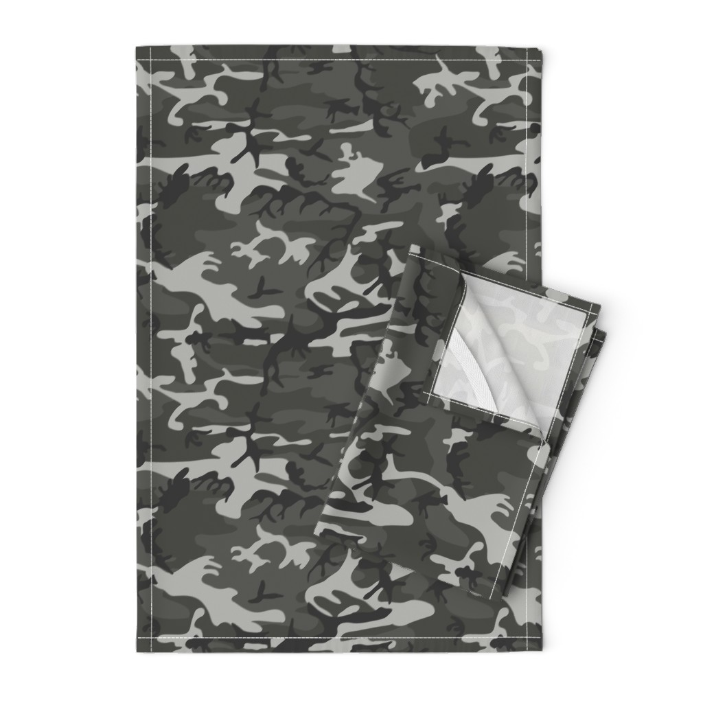 Orpington Tea Towels featuring Large Mixed Gray Military Camouflage (12 inch repeat) by mtothefifthpower