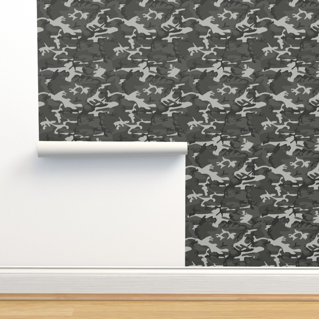 Isobar Durable Wallpaper featuring Large Mixed Gray Military Camouflage (12 inch repeat) by mtothefifthpower