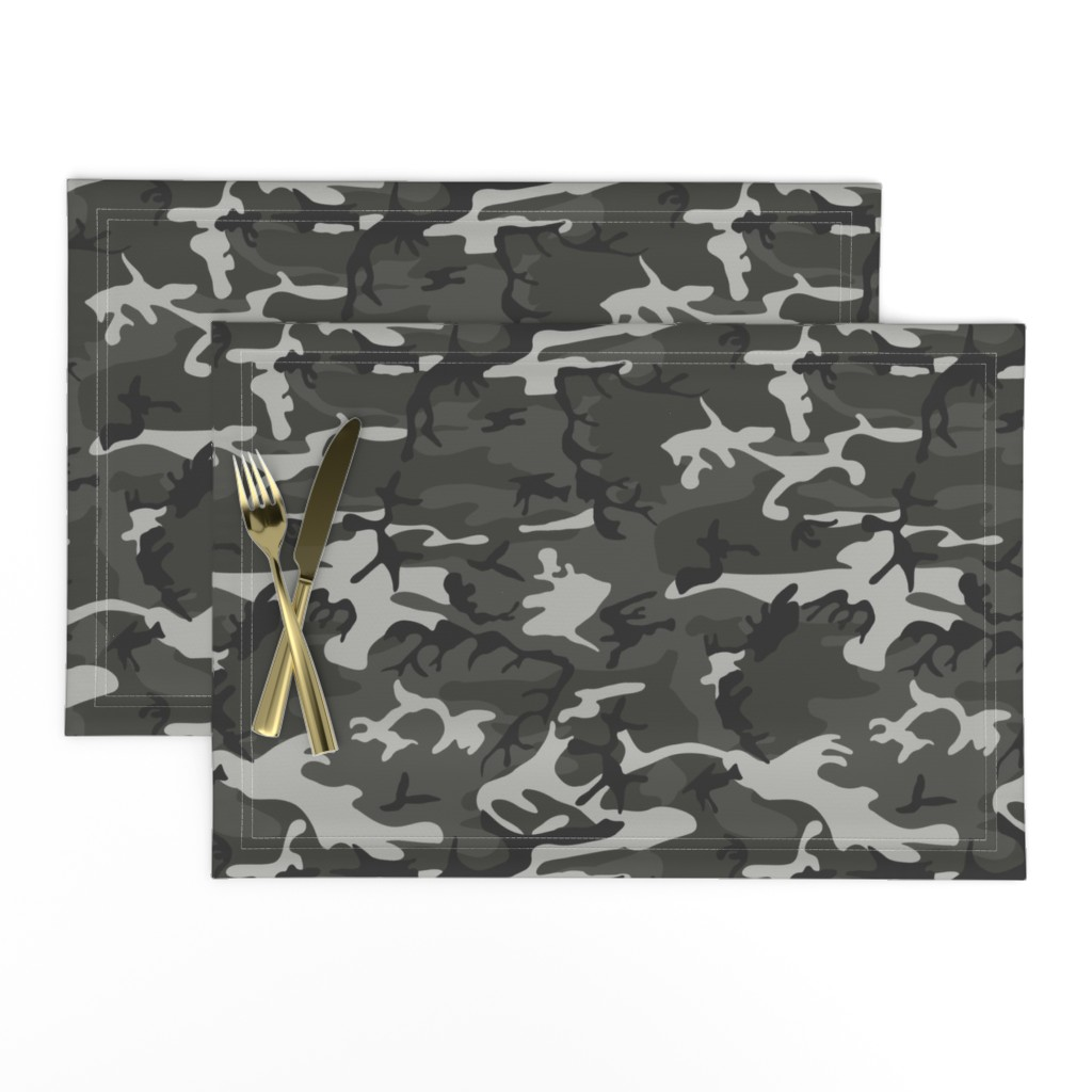 Lamona Cloth Placemats featuring Large Mixed Gray Military Camouflage (12 inch repeat) by mtothefifthpower