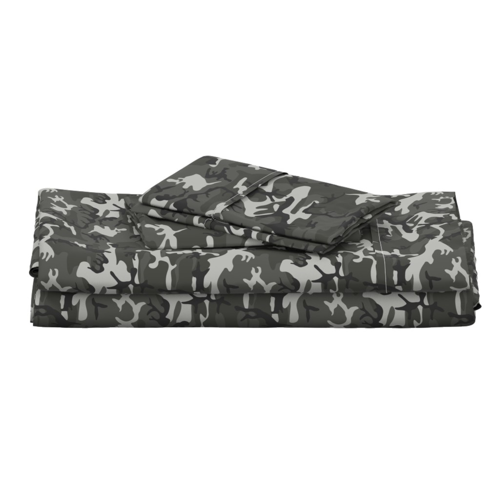 Langshan Full Bed Set featuring Large Mixed Gray Military Camouflage (12 inch repeat) by mtothefifthpower