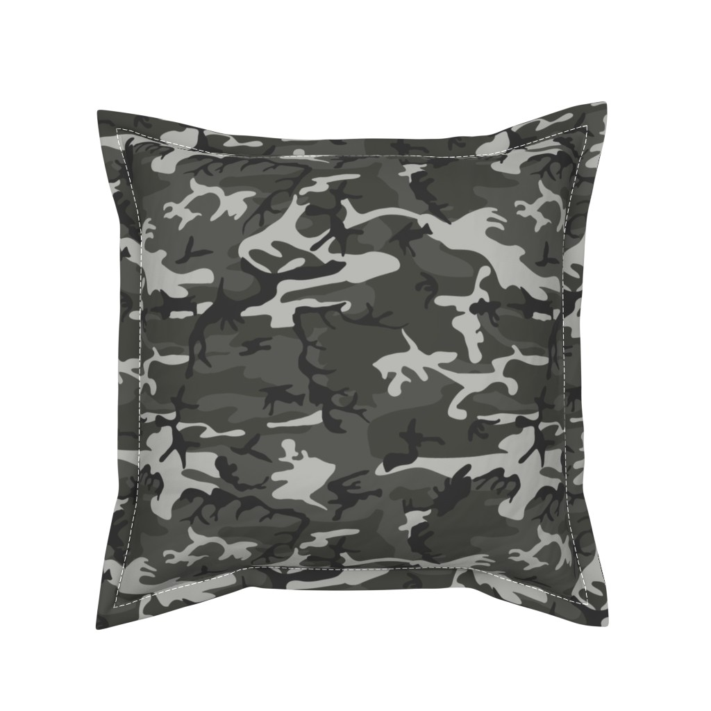Serama Throw Pillow featuring Large Mixed Gray Military Camouflage (12 inch repeat) by mtothefifthpower