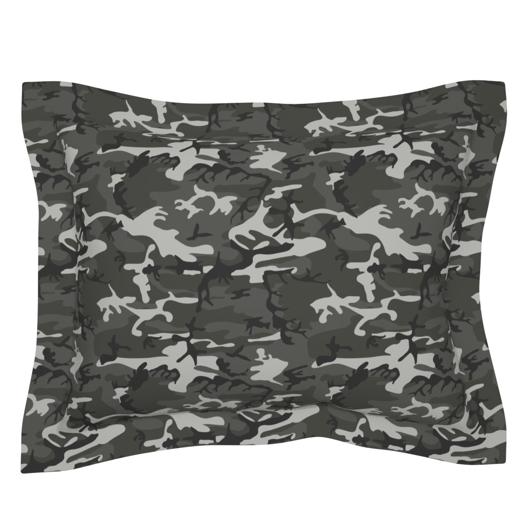 Sebright Pillow Sham featuring Large Mixed Gray Military Camouflage (12 inch repeat) by mtothefifthpower