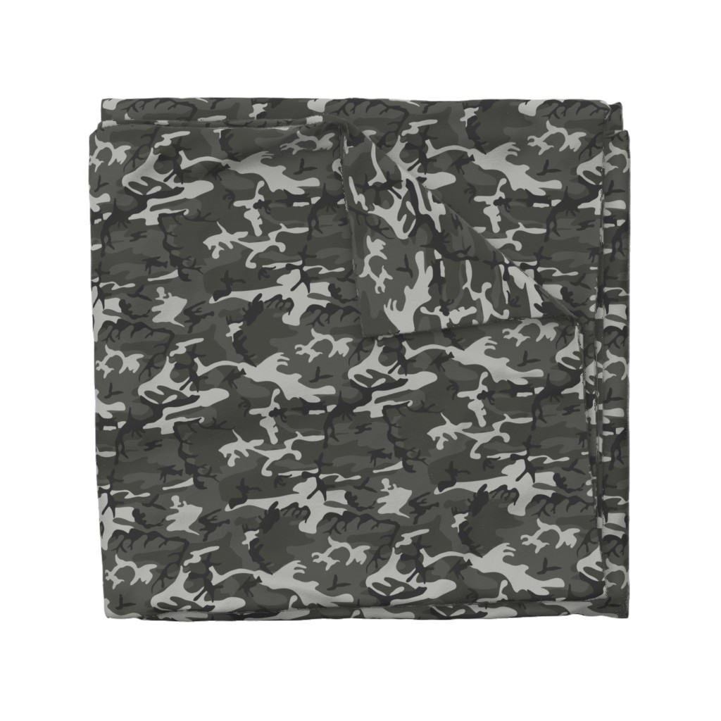 Wyandotte Duvet Cover featuring Large Mixed Gray Military Camouflage (12 inch repeat) by mtothefifthpower