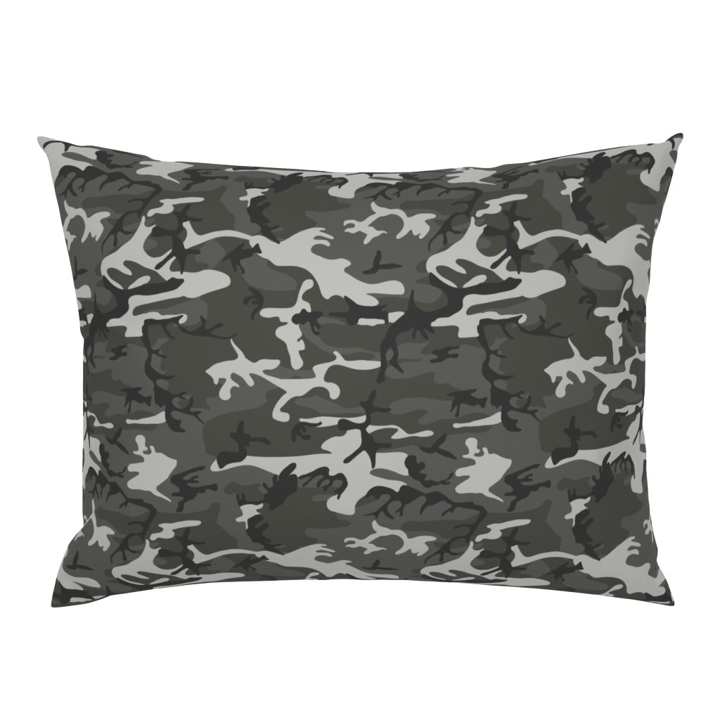 Campine Pillow Sham featuring Large Mixed Gray Military Camouflage (12 inch repeat) by mtothefifthpower
