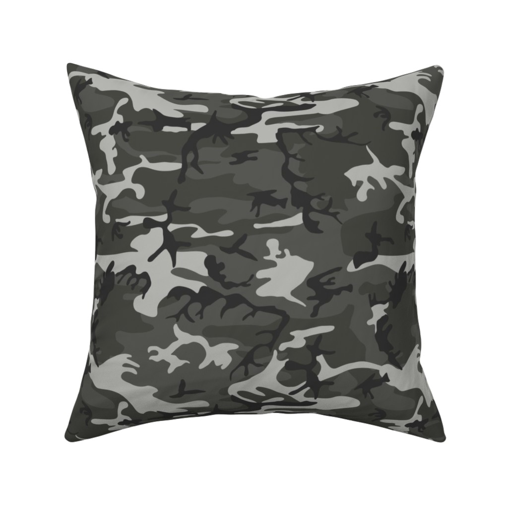 Catalan Throw Pillow featuring Large Mixed Gray Military Camouflage (12 inch repeat) by mtothefifthpower