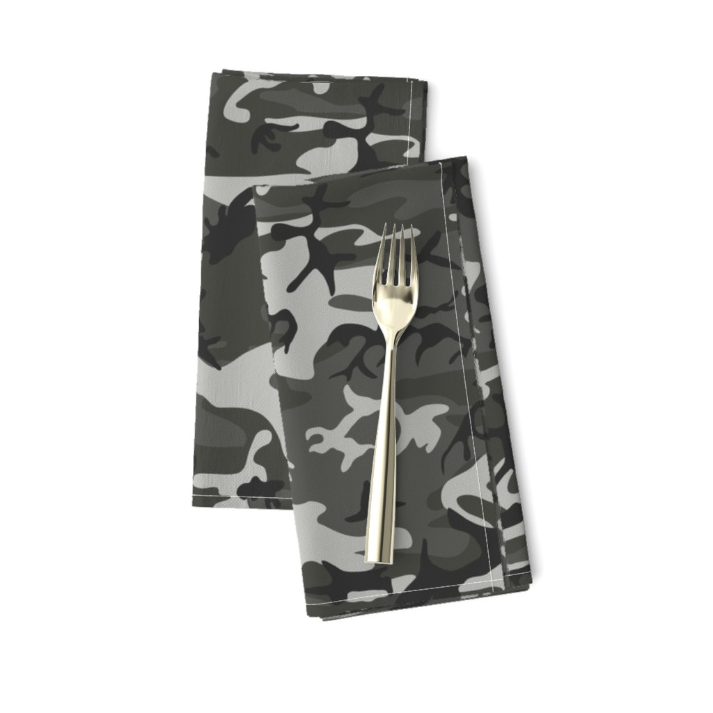 Amarela Dinner Napkins featuring Large Mixed Gray Military Camouflage (12 inch repeat) by mtothefifthpower