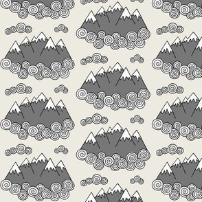 Mountains // Cream background