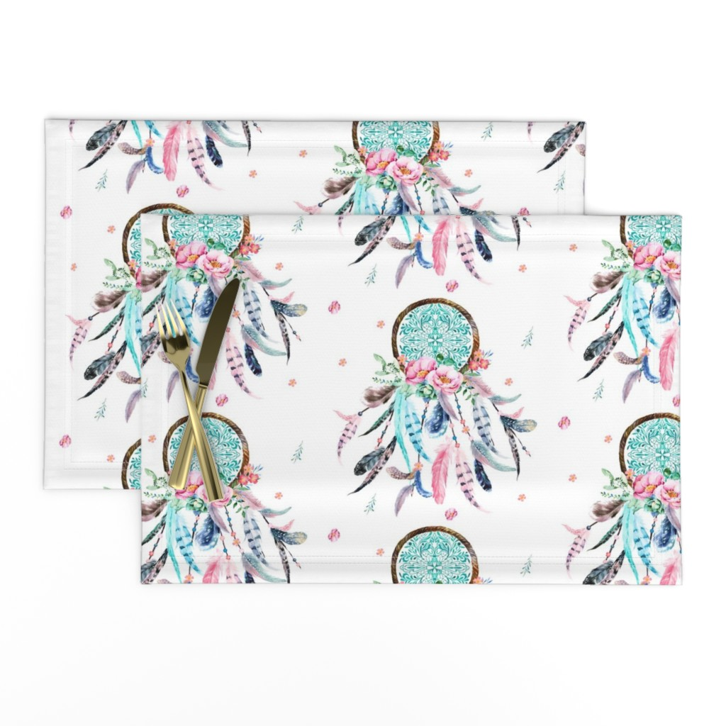 "Lamona Cloth Placemats featuring 8"" Pink & Aqua Dreamcatcher  by shopcabin"