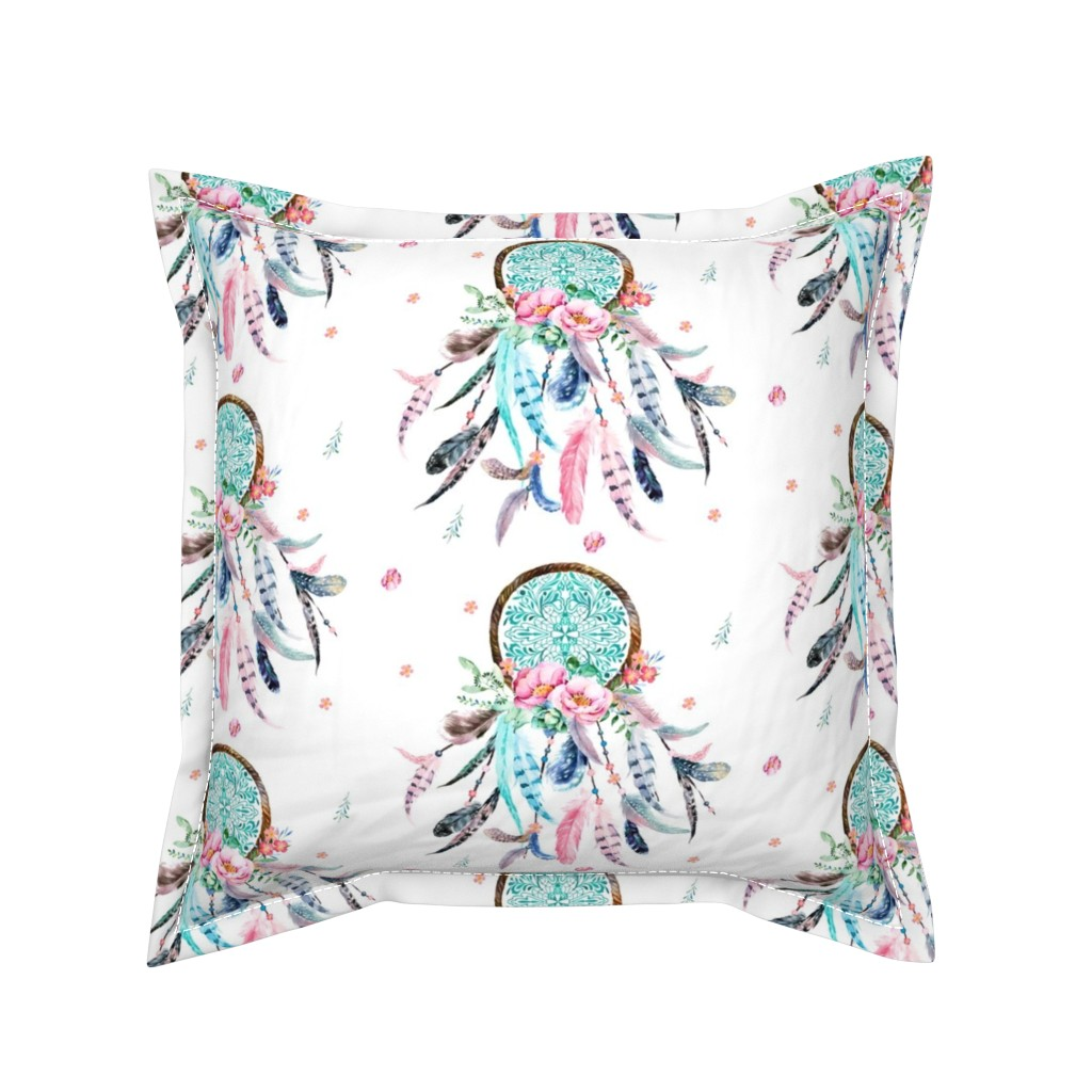 "Serama Throw Pillow featuring 8"" Pink & Aqua Dreamcatcher  by shopcabin"