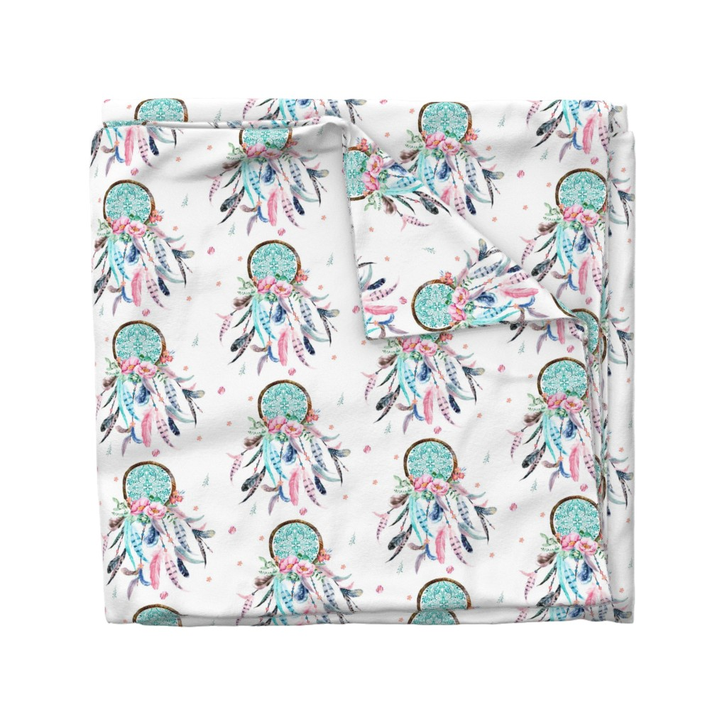 "Wyandotte Duvet Cover featuring 8"" Pink & Aqua Dreamcatcher  by shopcabin"