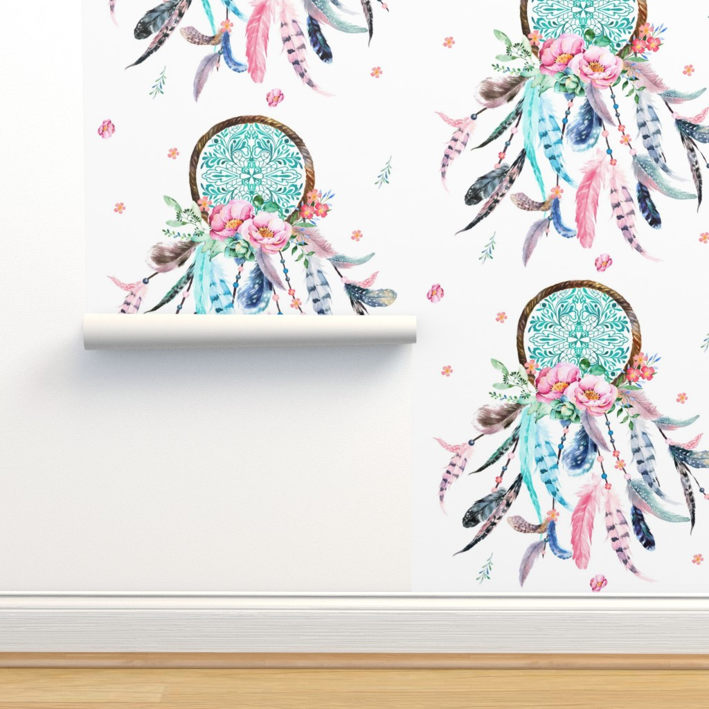 "Isobar Durable Wallpaper featuring 8"" Pink & Aqua Dreamcatcher  by shopcabin"