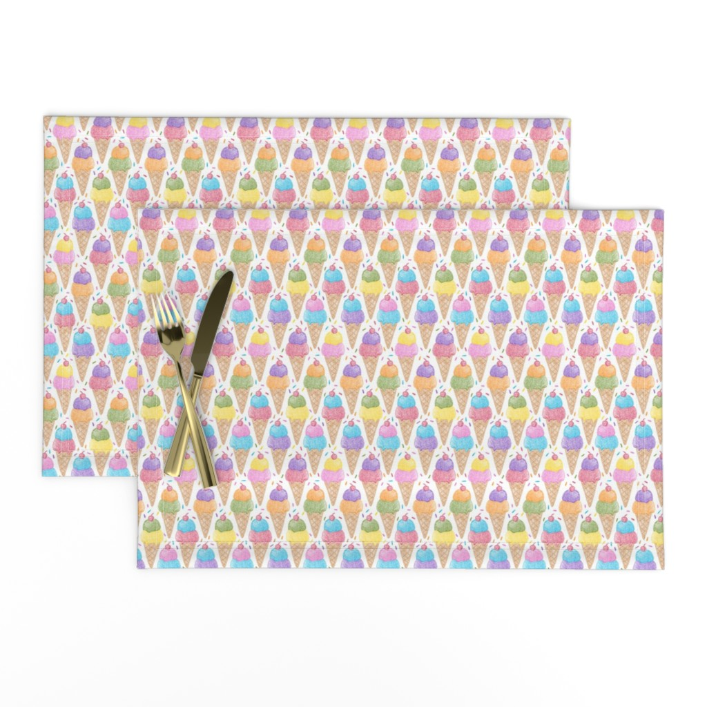 Lamona Cloth Placemats featuring Crayon Ice Cream 50%size by mia_valdez