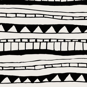 Tribal seamless pattern- tribal signs on beige background