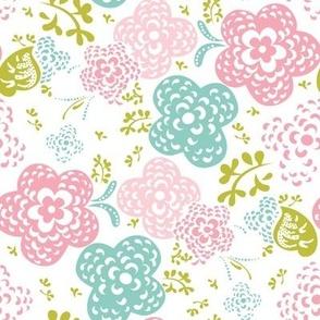Cute floral pattern mint+pink