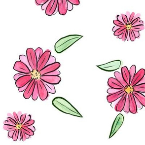 Bright Pink Floral White Background