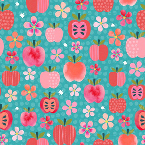 Pink Lady Apple Blossoms - Teal
