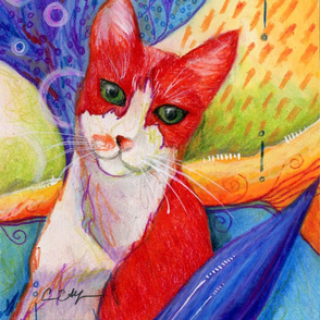 Red Cat with Colorful Background