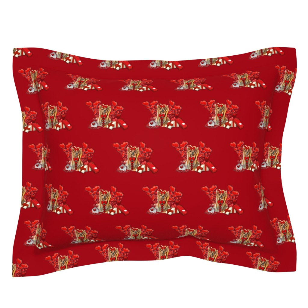 Sebright Pillow Sham featuring Love Yorkie  by barbyyy