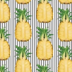 Tropical Yellow Pineapple Fruit Black White pinstripe_Miss Chiff Designs
