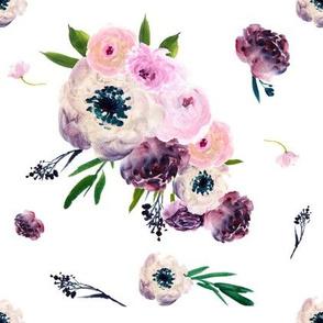 """8.5"""" Dark Floral Print in White"""