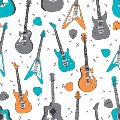 Guitar Bedroom Fabric Wallpaper And Home Decor Spoonflower