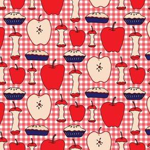 16-13Q Apple Pie Fruit Food American Teacher Patriotic Picnic Red White Blue 4th of July _Miss Chiff Designs