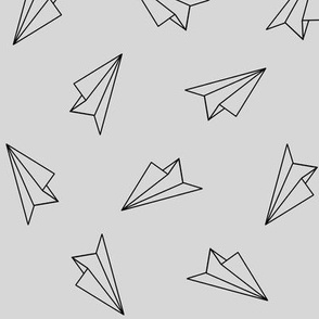 Paper Airplanes Black on Gray