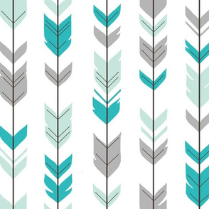 Arrow feathers - mint, teal, grey