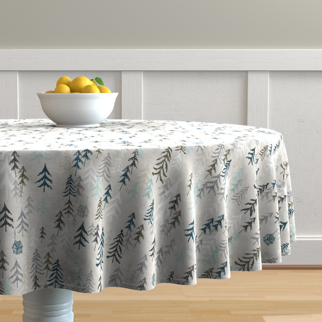 Malay Round Tablecloth featuring Solitude (earth) by nouveau_bohemian